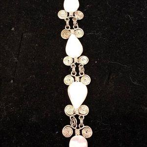 Jewelry - Elegant Sterling Silver and Rose Quartz Bracelet
